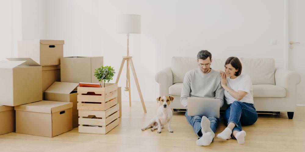 Pärchen und Hund sitzen mit Laptop auf dem Boden